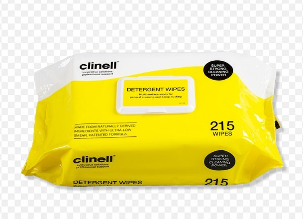 CLINELL DETERGENT WIPE FLAT PACK  (CDW215) PK/215