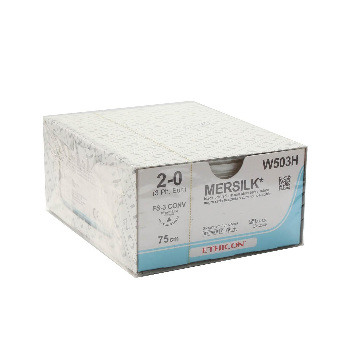 SUTURE SILK ETHICON 2/0 16MM (W503H) BOX/36