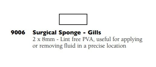 9006 GILLS SURGICAL SPONGE 2X8MM PACK15   B20