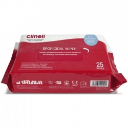 CLINELL SPORICIDAL POWERFUL WIPES (CST25) PACK/25