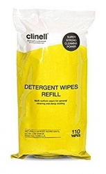CLINELL DETERGENT WIPES REFILL (CDT110R) PACK/110