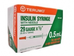 SYRINGE 0.5ML INSULIN 29GX1/2 TERUMO BOX/100