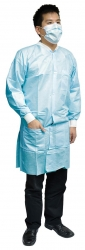 SAFEWEAR LAB COAT LIGHT BLU MED (8112) CTN/60 - Click for more info