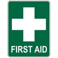 STICKER FIRST AID WHITE CROSS ON GREEN 80X80MM