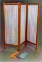 SCREEN 3 FOLD WOODEN WITH CURTAINS